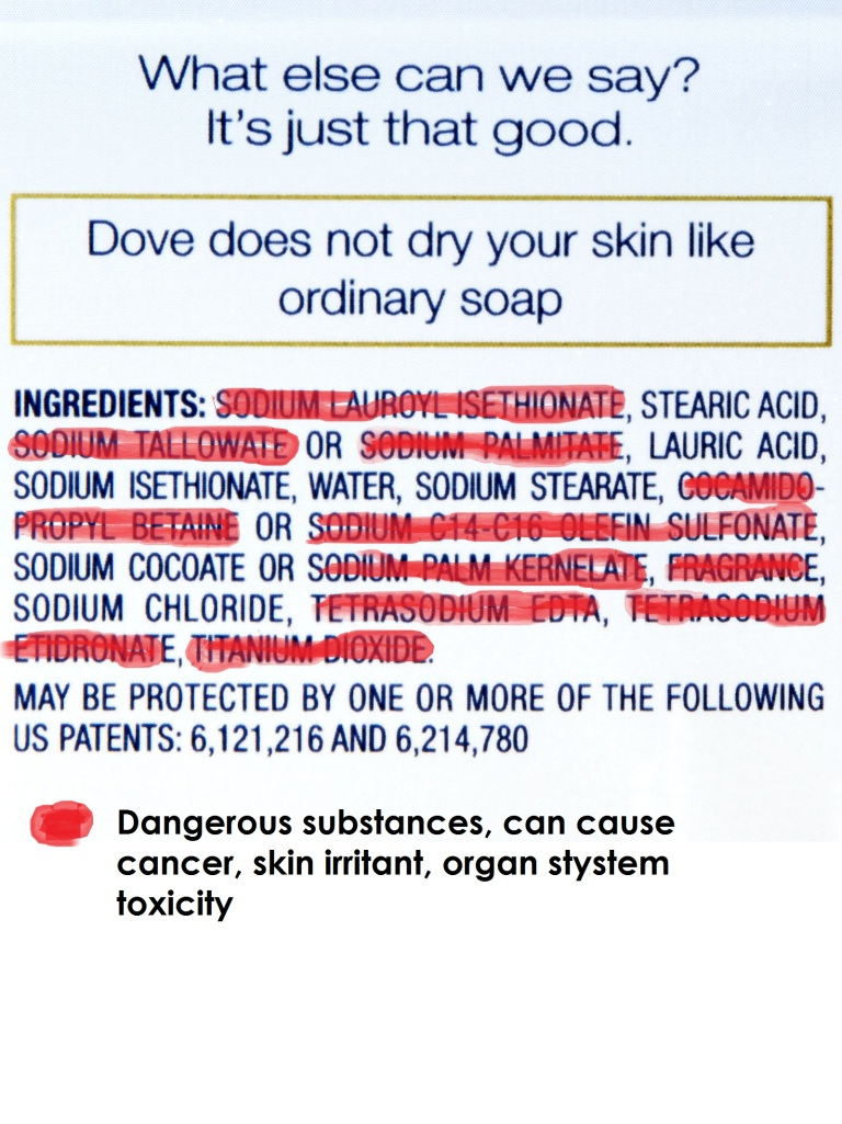 dove soap ingredients review and dangerosity