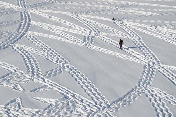 art snow walking in the mountain