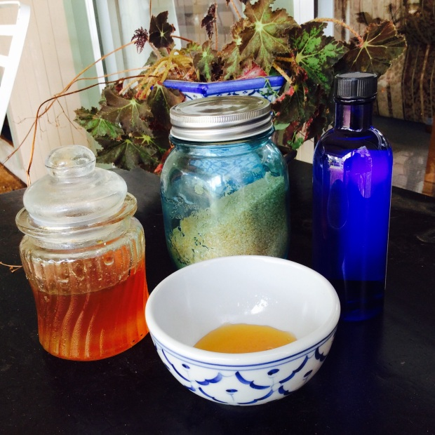 ingredients for a diy scrub with honey