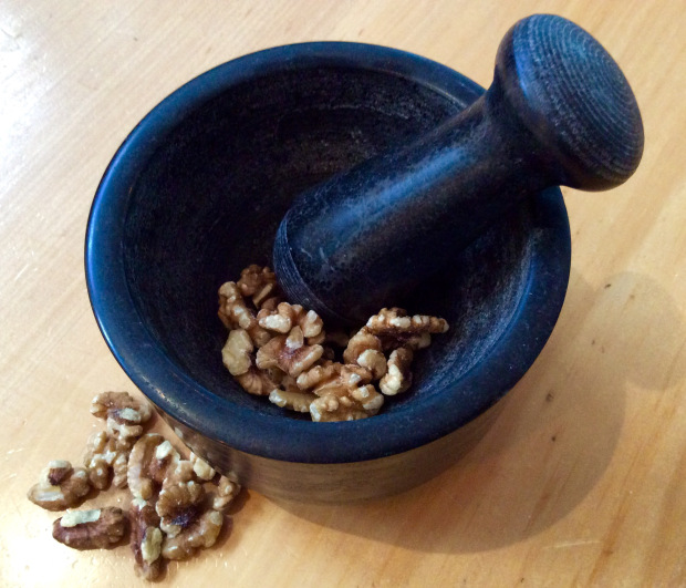 mortar to crumble raw nuts