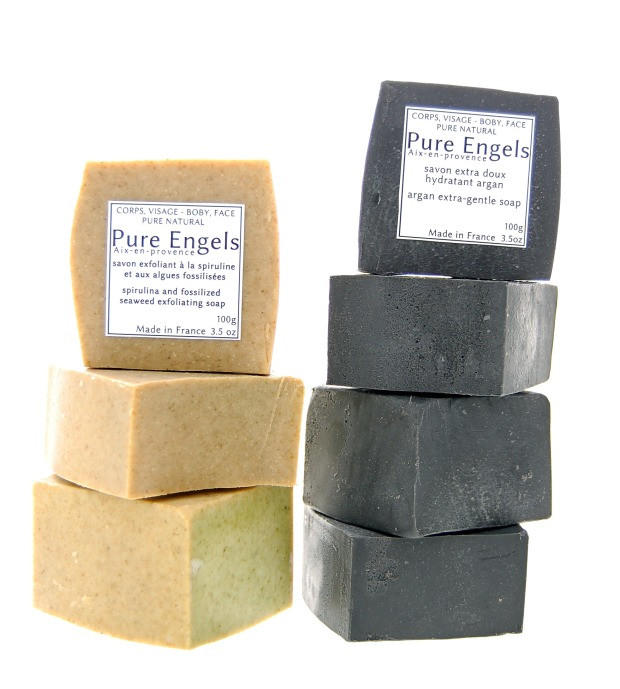 black and beige soaps